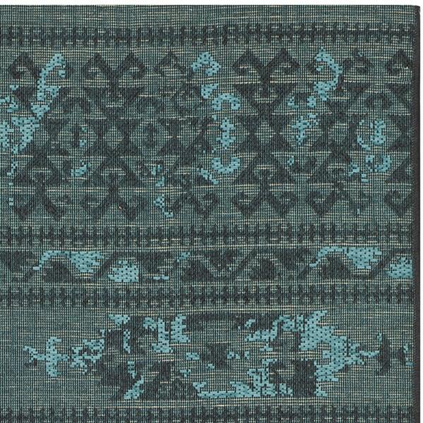 Black, Turquoise (56C4) Southwestern / Lodge Area Rug