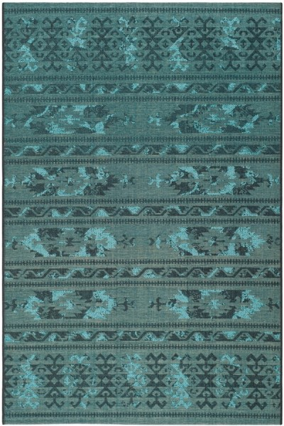 Black, Turquoise (56C4) Moroccan Area Rug
