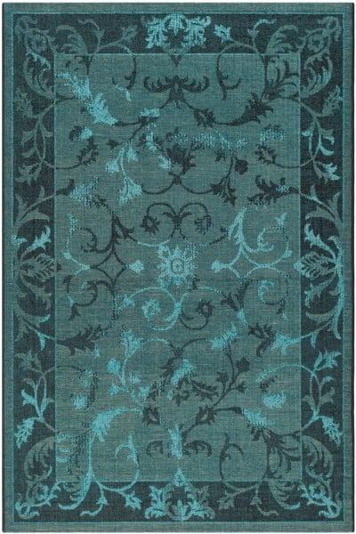 Black, Turquoise (56C4) Bordered Area Rug