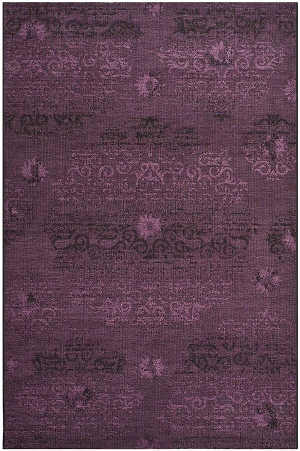 Black, Purple (56C7) Damask Area Rug