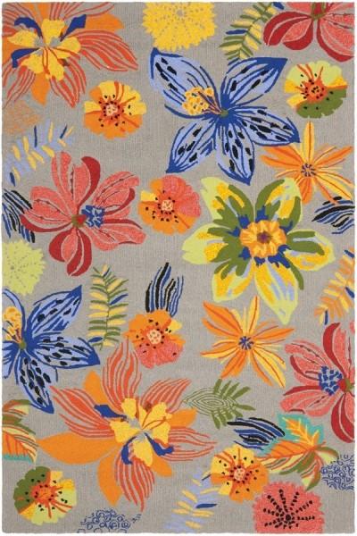 Grey, Orange (C) Floral / Botanical Area Rug