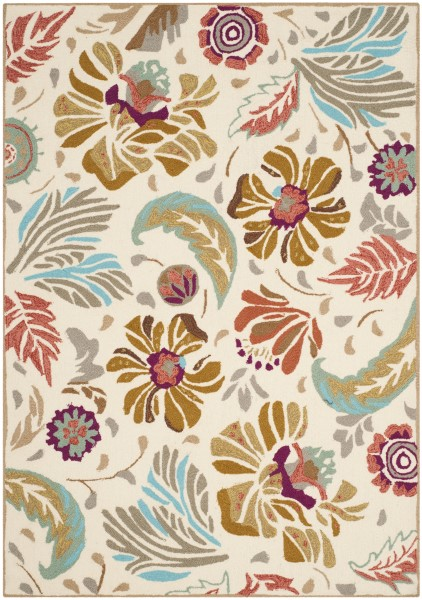 Ivory, Grey (A) Floral / Botanical Area Rug