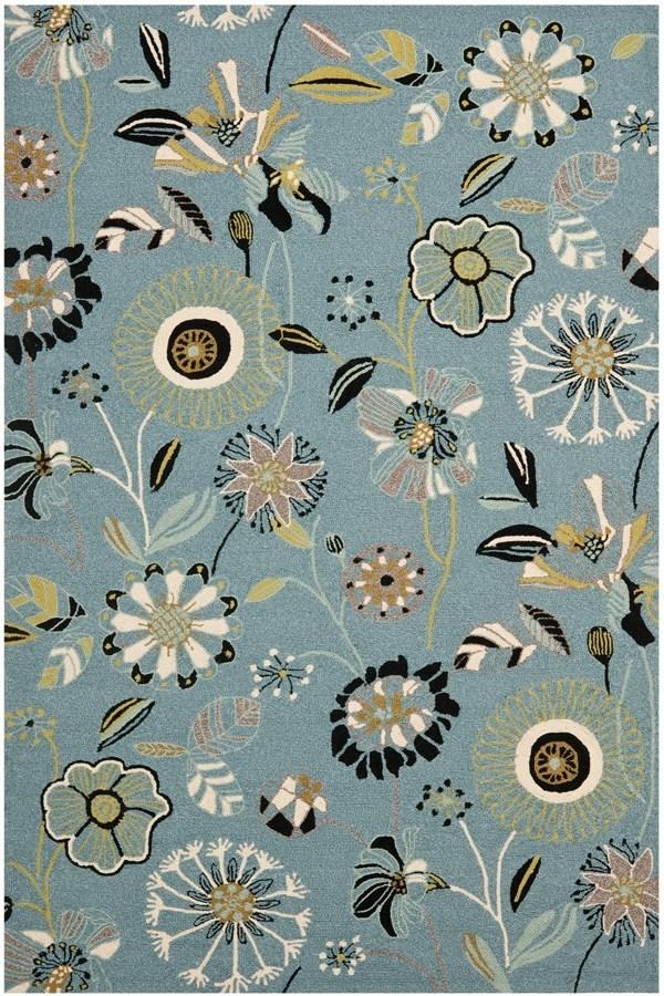 Blue, Ivory (B) Floral / Botanical Area Rug