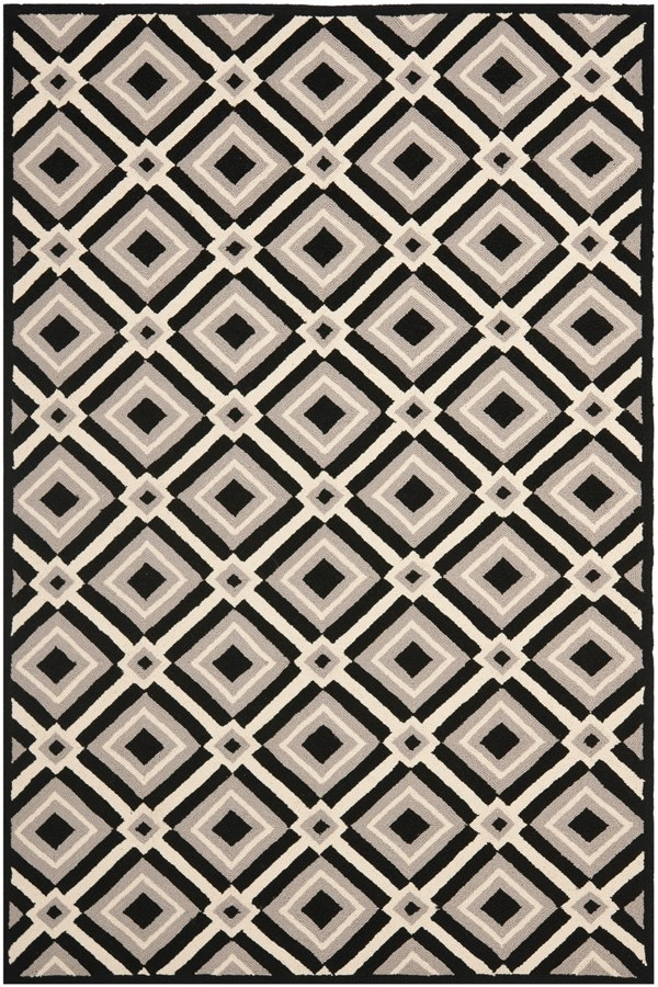 Black, Grey (A) Moroccan Area Rug