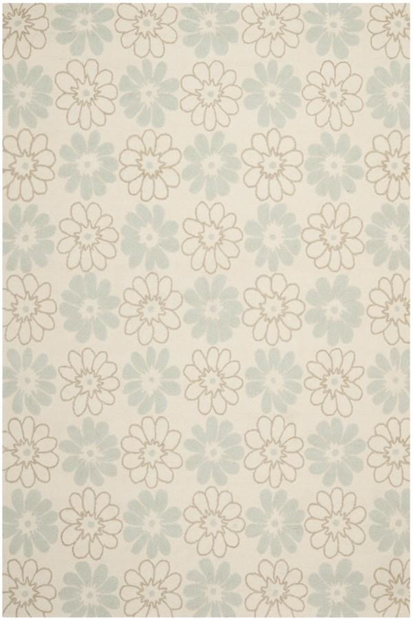 Ivory, Light Blue (A) Floral / Botanical Area Rug