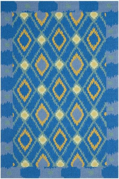 Indigo, Yellow (D) Southwestern / Lodge Area Rug