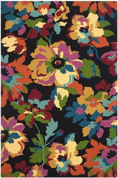 Black (E) Floral / Botanical Area Rug