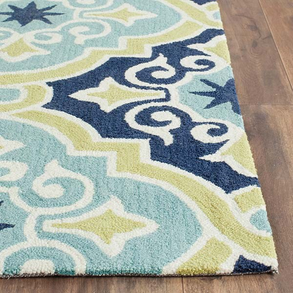 Navy, Light Blue (A) Moroccan Area Rug