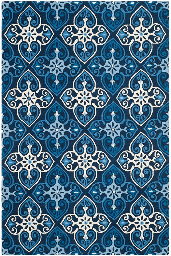 Navy, Ivory (A) Moroccan Area Rug