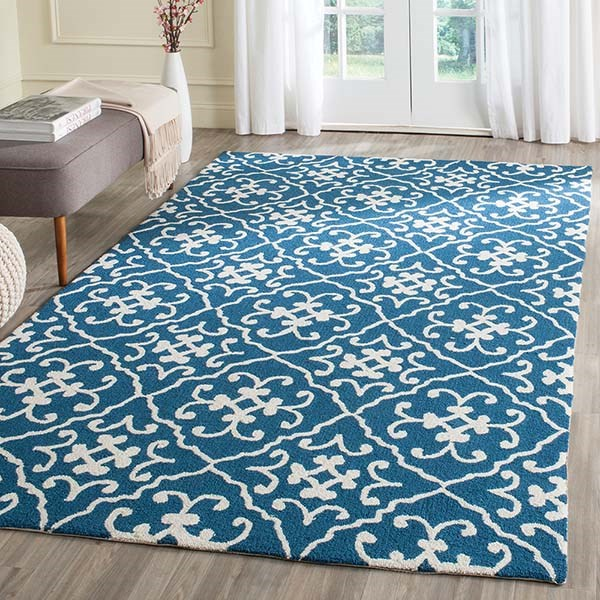 Navy, Ivory (H) Moroccan Area Rug