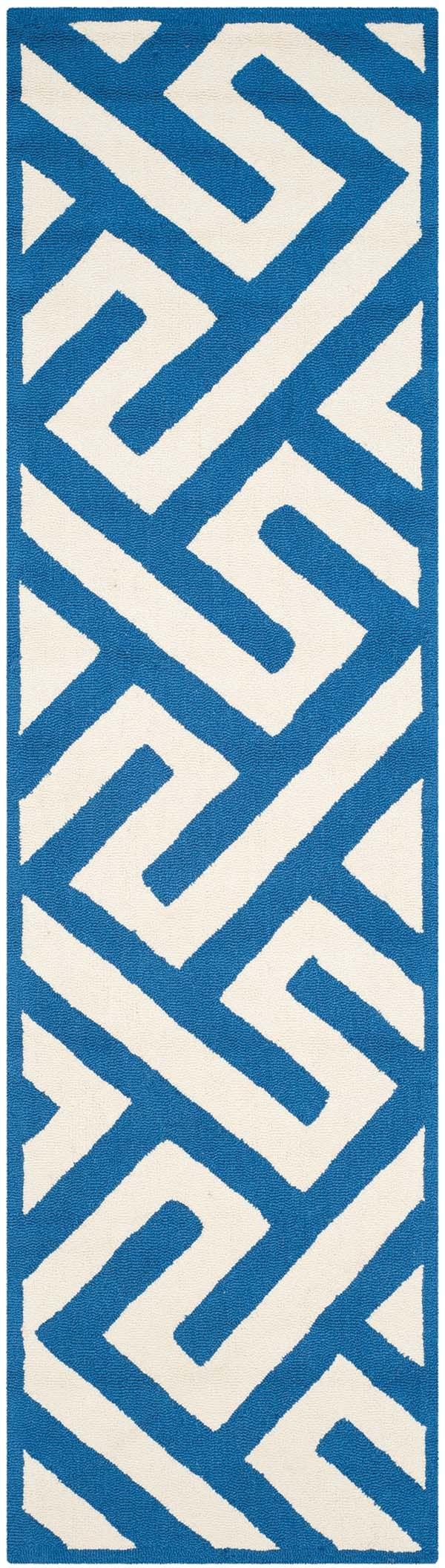 Ivory, Blue (K) Contemporary / Modern Area Rug