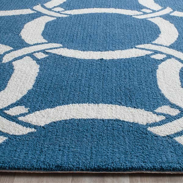 Navy, Ivory (H) Contemporary / Modern Area Rug