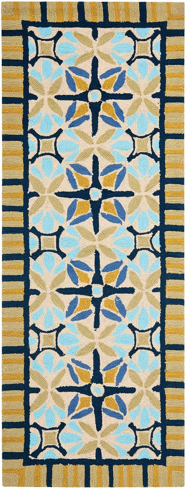 Tan, Blue (A) Moroccan Area Rug