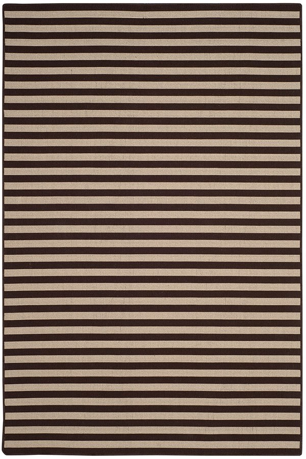 Ivory, Brown (A) Striped Area Rug