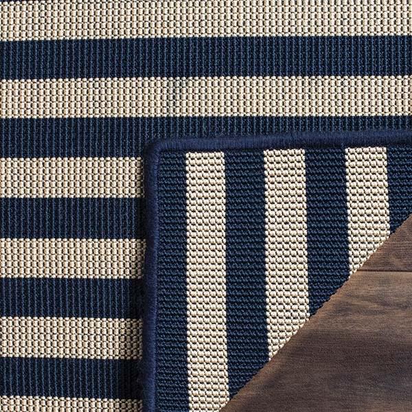 Ivory, Navy (B) Striped Area Rug