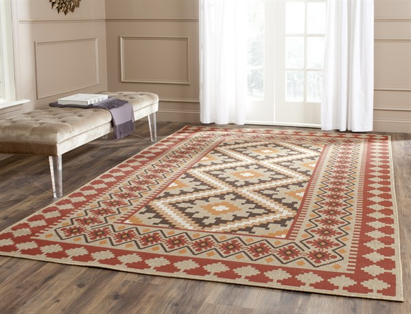 Red, Natural (0334) Southwestern / Lodge Area Rug