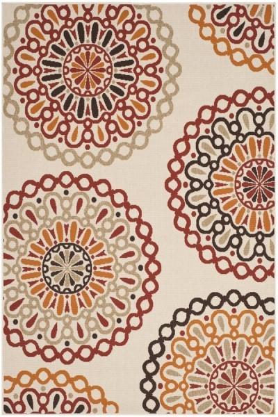 Cream, Red (0313) Mandala Area Rug