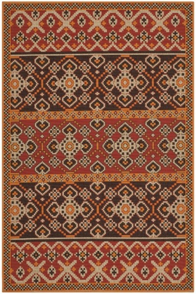 Red, Chocolate (0332) Transitional Area Rug