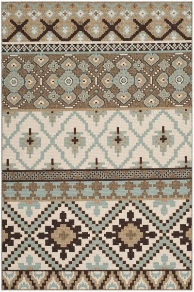 Cream, Brown (0215) Southwestern Area Rug