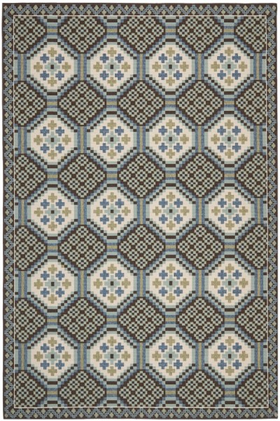 Blue, Chocolate (0652) Transitional Area Rug
