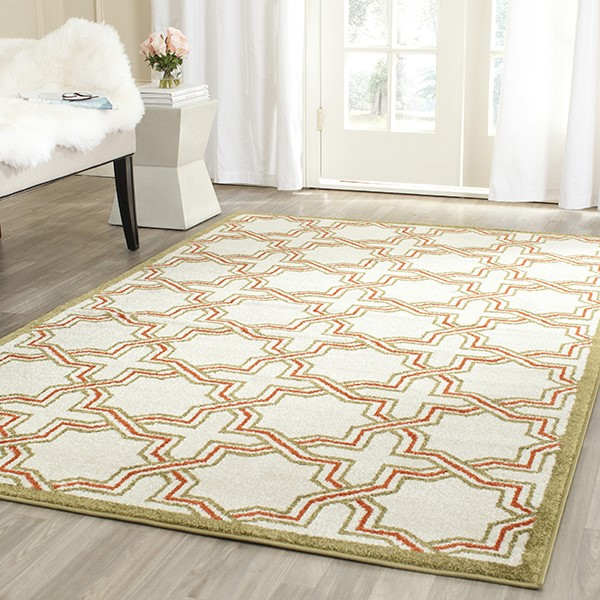 Ivory, Light Green (A) Moroccan Area Rug