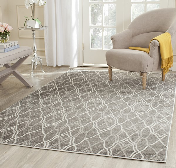 Grey, Light Grey (C) Contemporary / Modern Area Rug