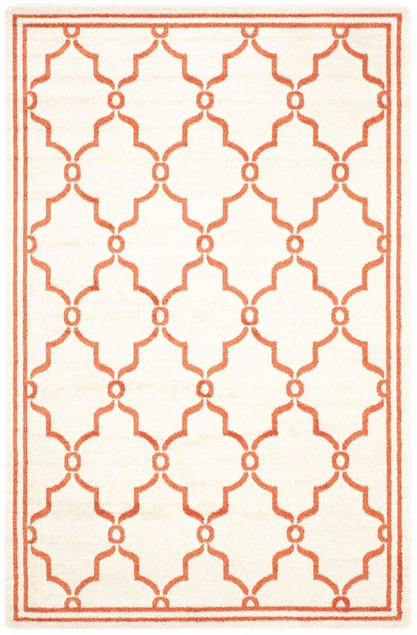 Beige, Orange (F) Moroccan Area Rug
