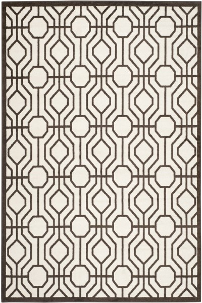 Ivory, Brown (J) Contemporary / Modern Area Rug