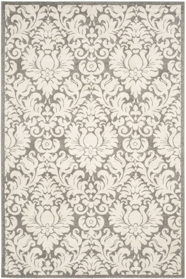 Dark Grey, Beige (R) Damask Area Rug