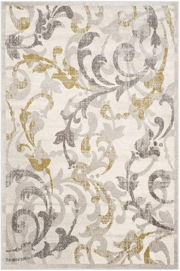 Ivory, Light Grey (E) Floral / Botanical Area Rug