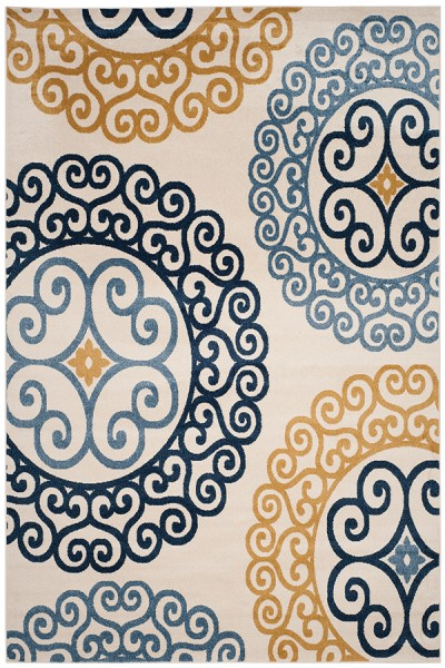 Ivory, Gold (T) Contemporary / Modern Area Rug