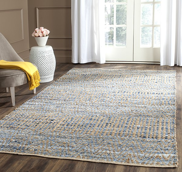Natural, Blue (A) Natural Fiber Area Rug
