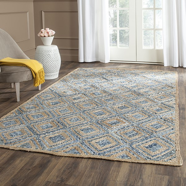 Natural, Blue (A) Transitional Area Rug