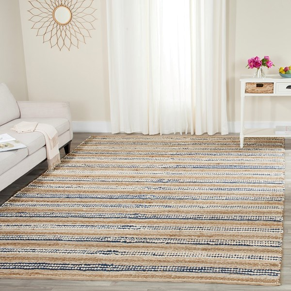 Natural, Blue (B) Casual Area Rug