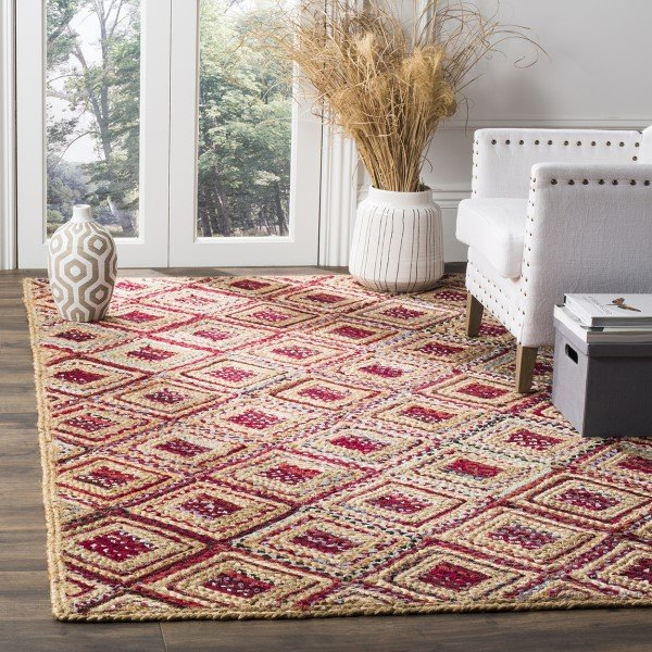 Natural, Red (B) Transitional Area Rug