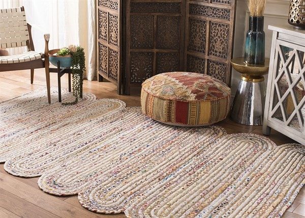 Ivory, Brown (A) Bohemian Area Rug