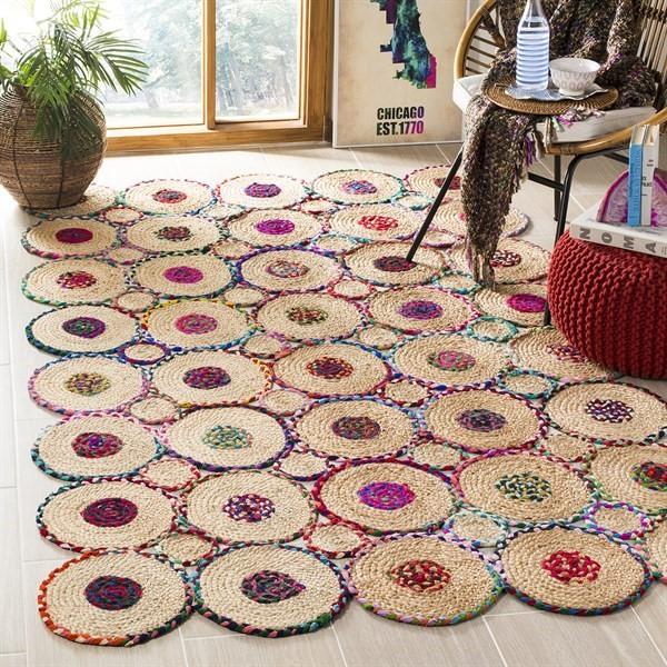 Red, Natural (Q) Bohemian Area Rug