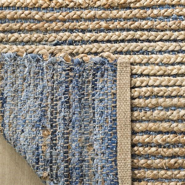 Natural, Blue (M) Natural Fiber Area Rug