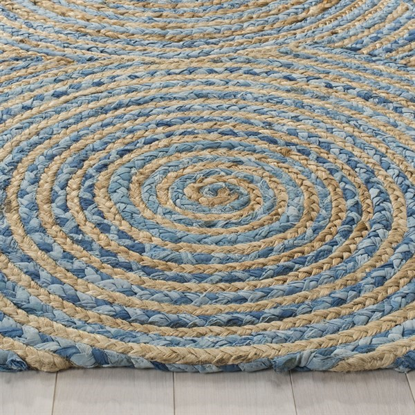 Natural, Blue (A) Bohemian Area Rug