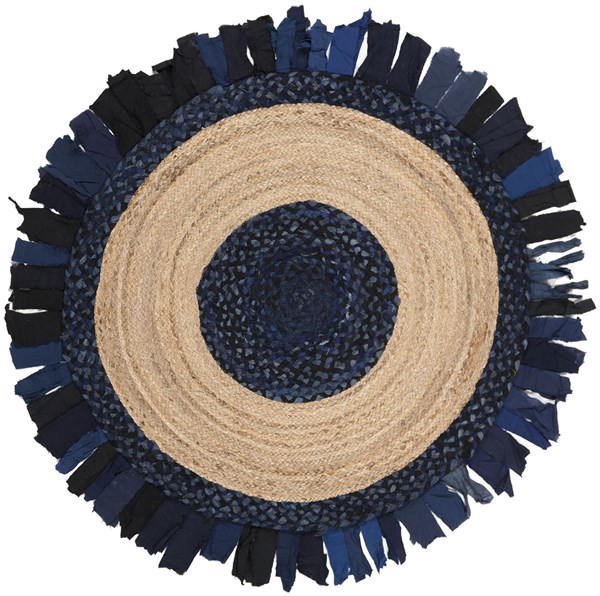 Navy, Natural (N) Bohemian Area Rug