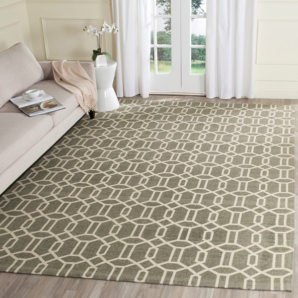 Grey, Ivory (D) Transitional Area Rug