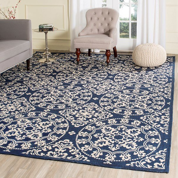 Navy, Natural (A) Transitional Area Rug