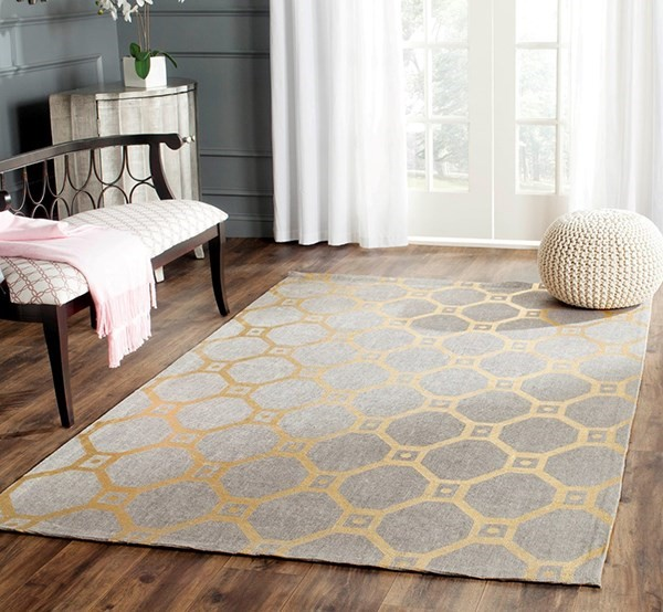 Grey, Gold (Q) Transitional Area Rug