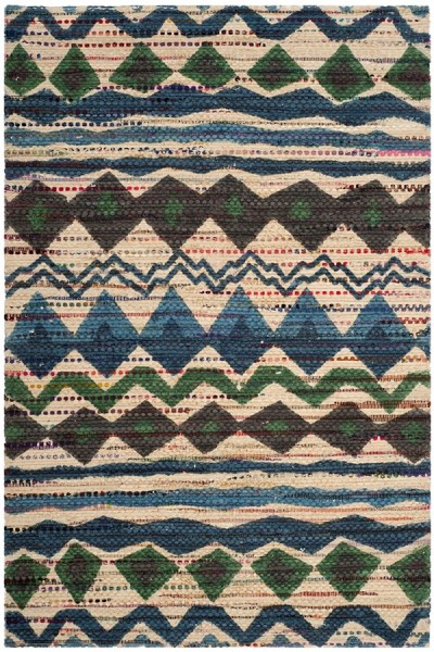 Blue. Green (A) Moroccan Area Rug