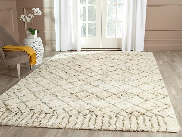 Ivory, Green (A) Moroccan Area Rug