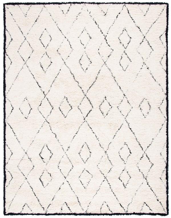 Ivory, Black (A) Shag Area Rug