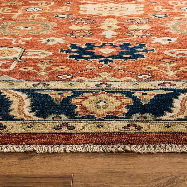 Rust, Navy (A) Traditional / Oriental Area Rug