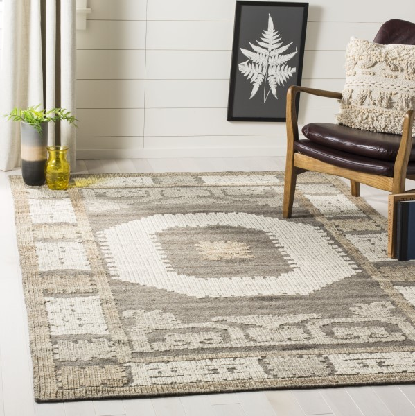 Ivory, Brown (A) Moroccan Area Rug