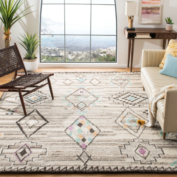 Natural, Blue (A) Moroccan Area Rug