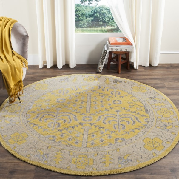 Yellow (A) Traditional / Oriental Area Rug